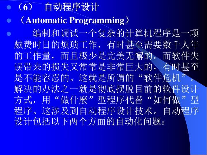 (6)   自动程序设计