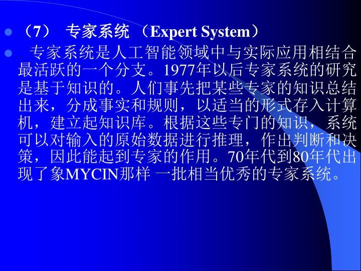 (7)  专家系统 (