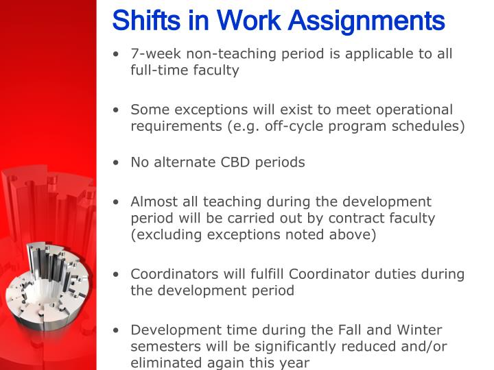 Shifts in Work Assignments