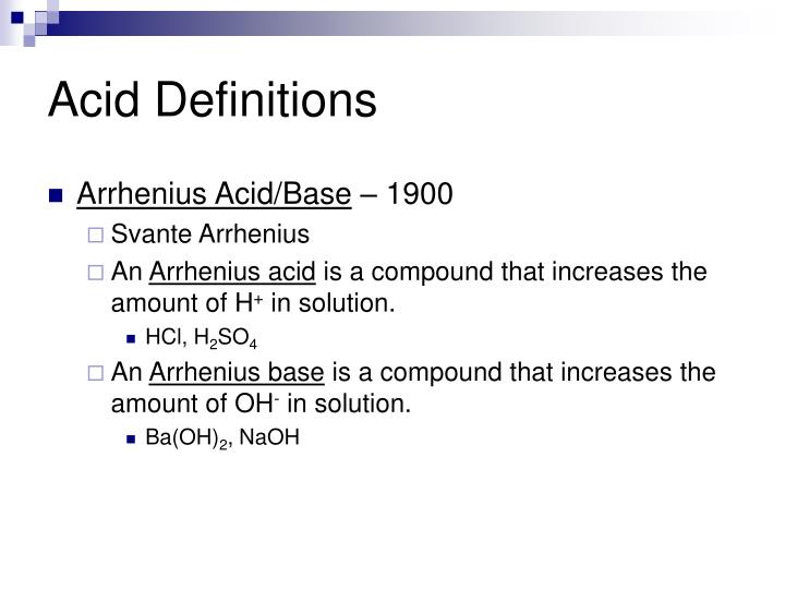 Arrhenius Acid/Base