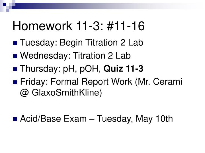 Homework 11-3: #11-16