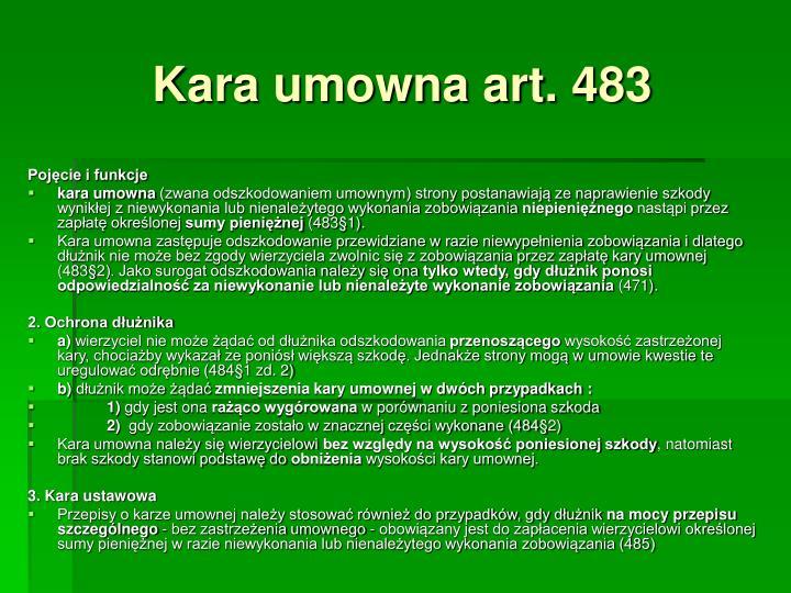 Kara umowna art. 483