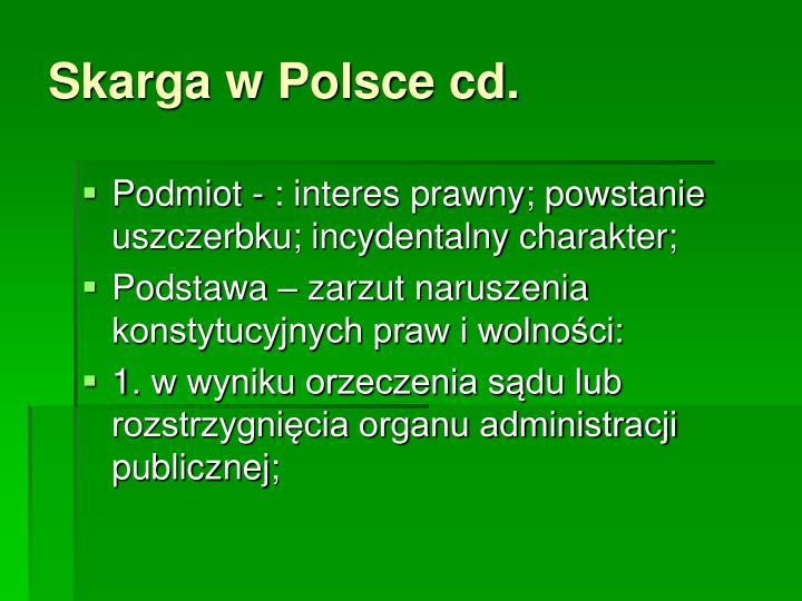 Skarga w Polsce cd.