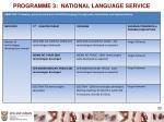 programme 3 national language service