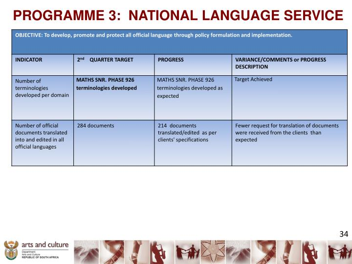 PROGRAMME 3:  NATIONAL LANGUAGE SERVICE