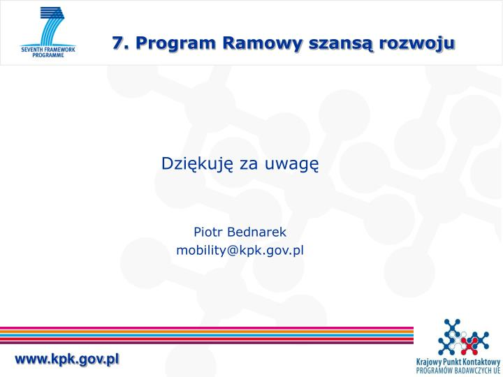 7. Program Ramowy szansą rozwoju