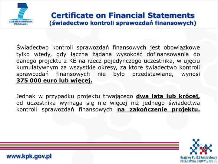 Certificate on Financial Statements
