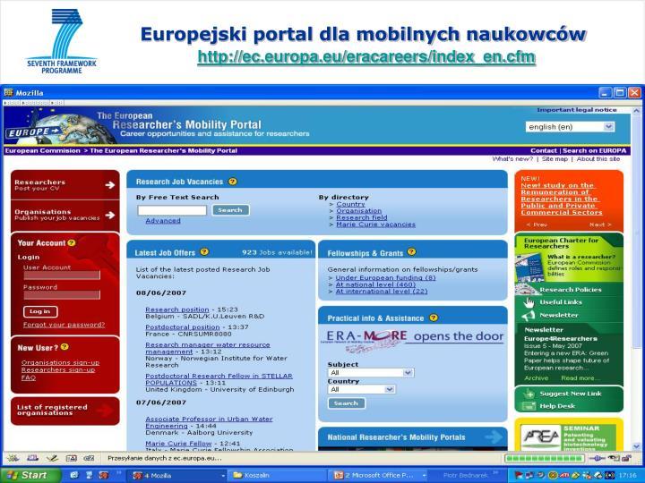 Europejski portal dla mobilnych naukowców