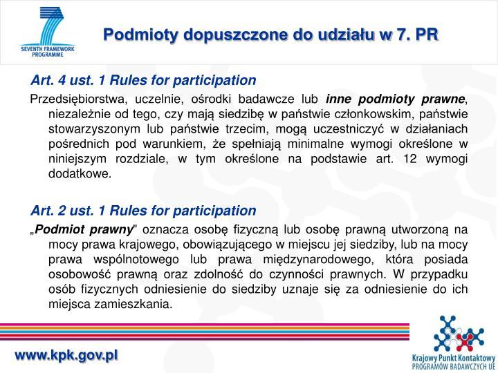 Podmioty dopuszczone do udziału w 7. PR