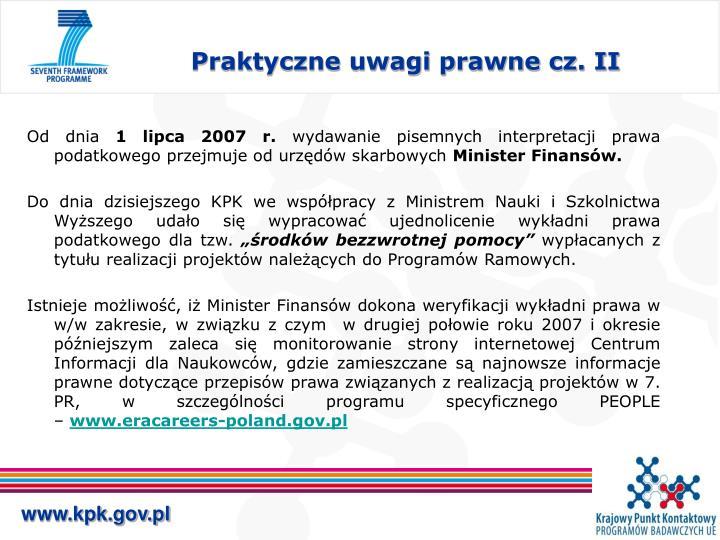 Praktyczne uwagi prawne cz. II