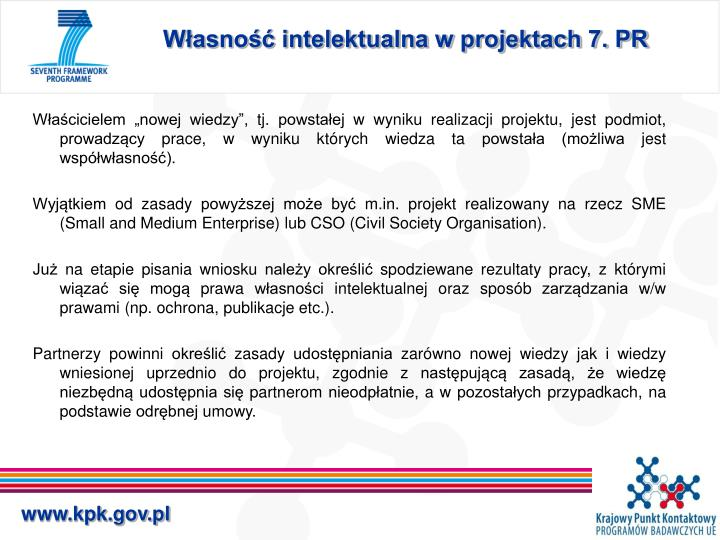 Własność intelektualna w projektach 7. PR