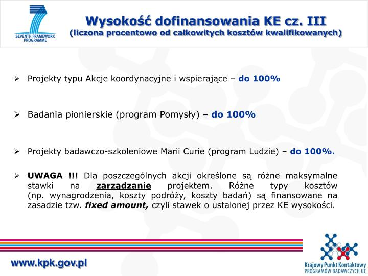 Wysokość dofinansowania KE cz. III
