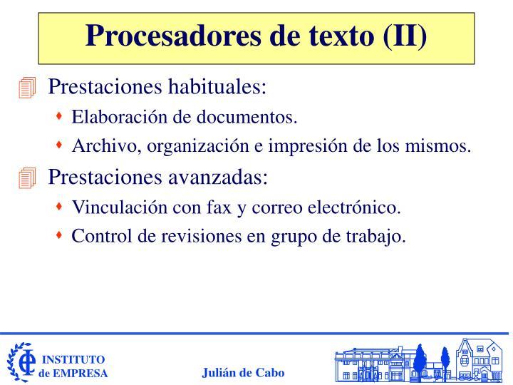 Procesadores de texto (II)