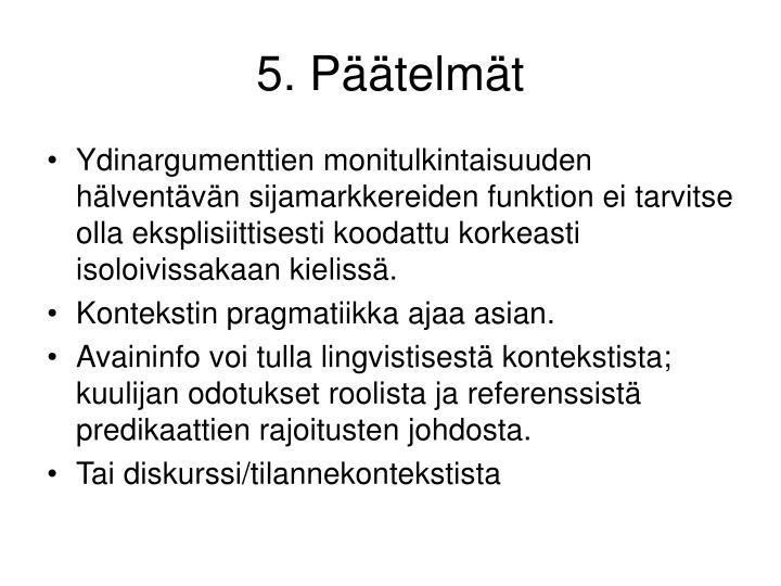5. Päätelmät
