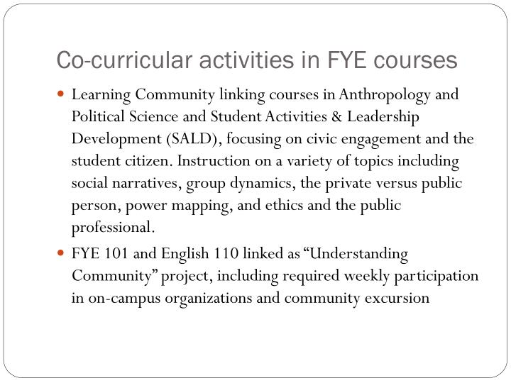 Co-curricular activities in FYE courses