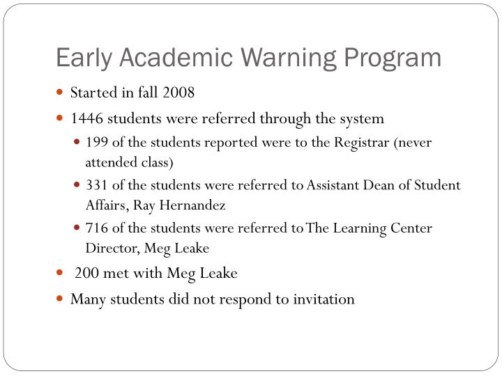 Early Academic Warning Program