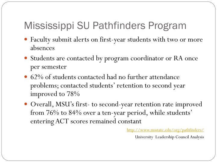 Mississippi SU Pathfinders Program