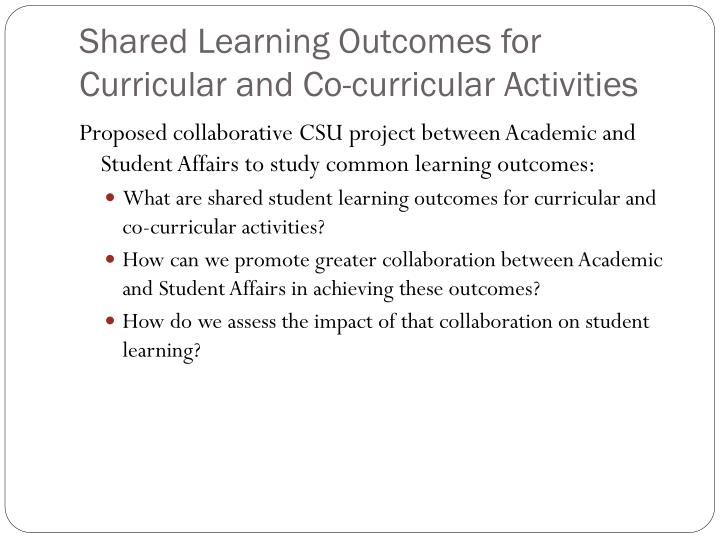 Shared Learning Outcomes for Curricular and Co-curricular Activities