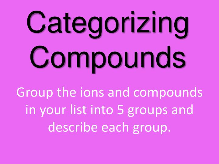 Categorizing compounds