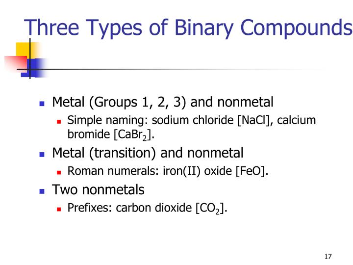 Three Types of Binary Compounds