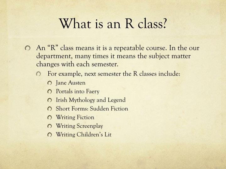 What is an R class?