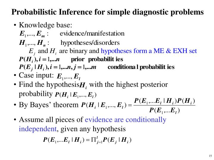 Probabilistic Inference for simple diagnostic problems