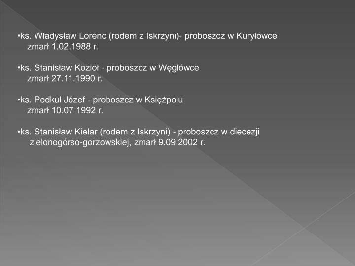 ks. Władysław Lorenc (rodem z Iskrzyni)- proboszcz w Kuryłówce