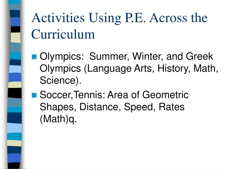 Activities Using P.E. Across the Curriculum