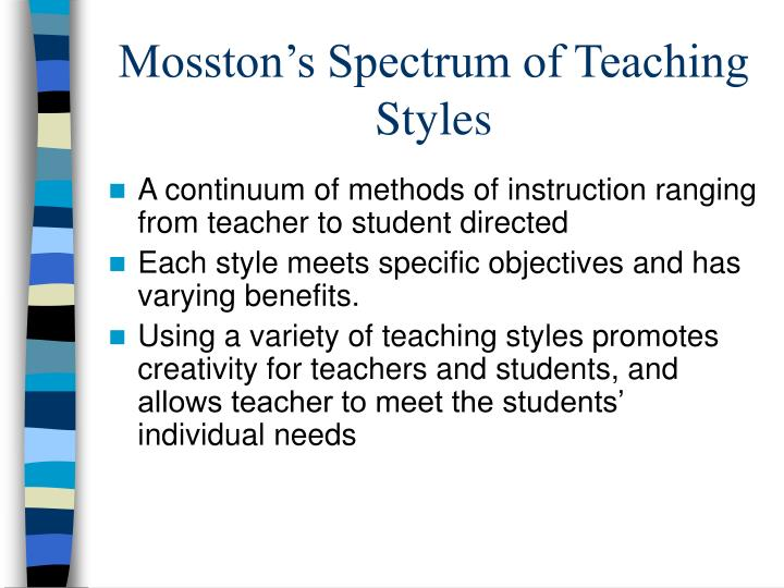 Mosston's Spectrum of Teaching Styles