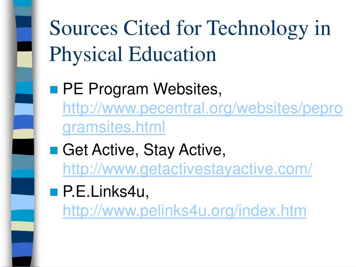 Sources Cited for Technology in Physical Education