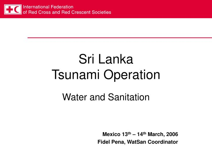 Sri lanka tsunami operation