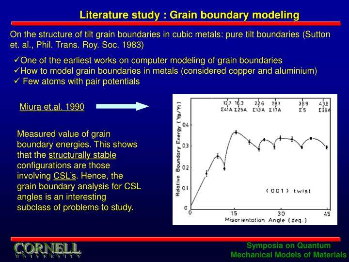 Literature study : Grain boundary modeling