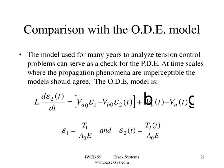Comparison with the O.D.E. model