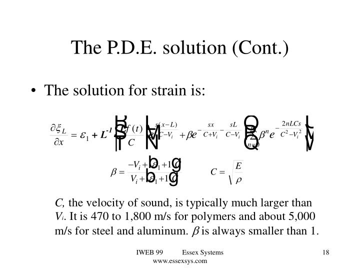 The P.D.E. solution (Cont.)