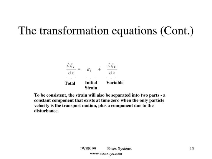 The transformation equations (Cont.)