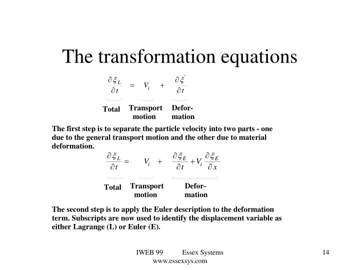 The transformation equations