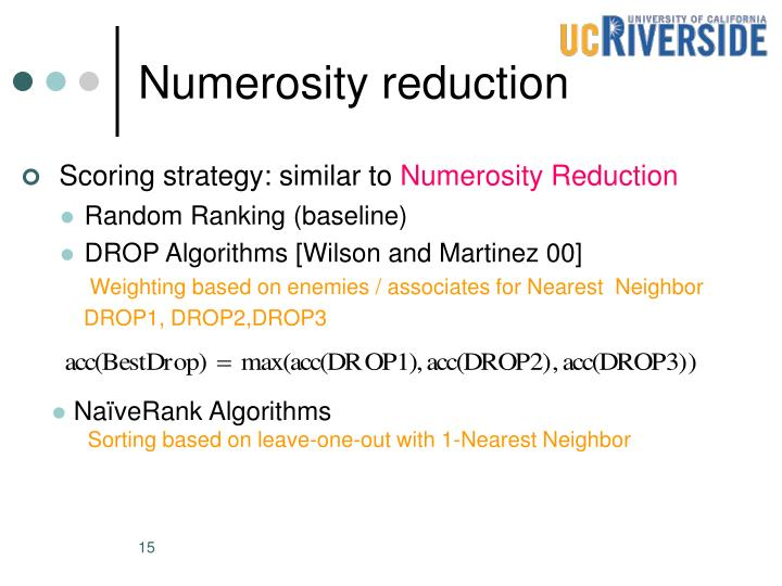 Numerosity reduction