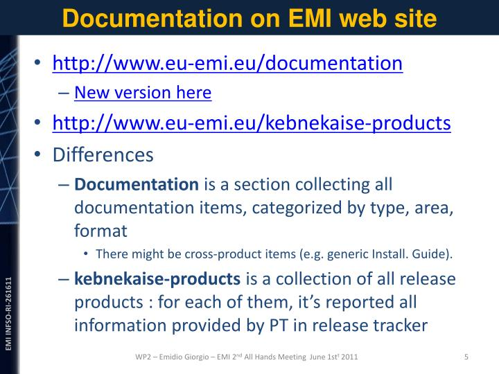 Documentation on EMI web site
