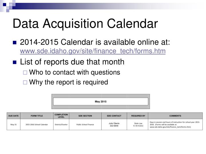 Data acquisition calendar