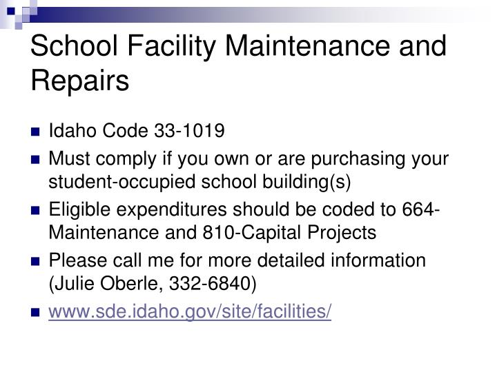 School Facility Maintenance and Repairs