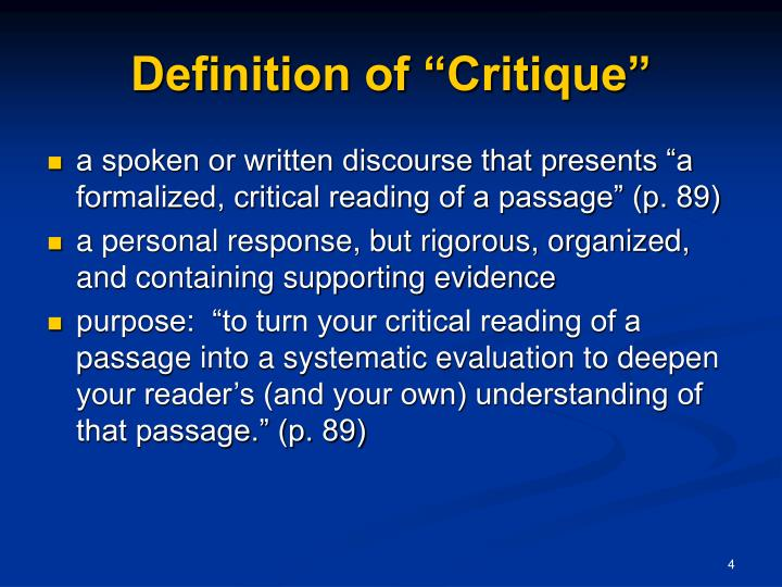 """Definition of """"Critique"""""""