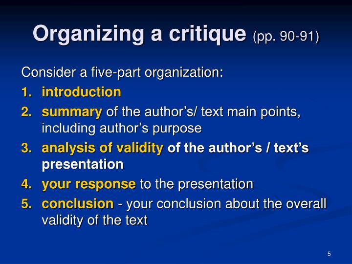 Organizing a critique