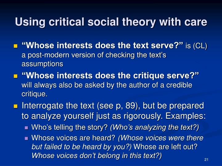 Using critical social theory with care