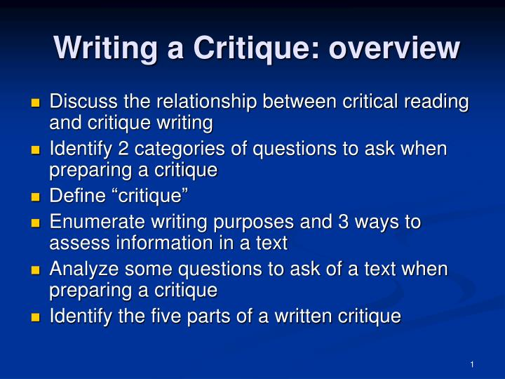 Writing a critique overview