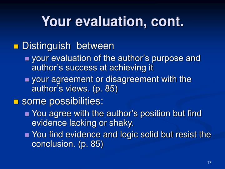 Your evaluation, cont.