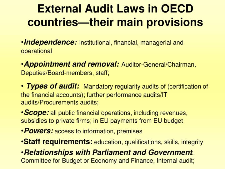 External Audit Laws in OECD countries—their main provisions