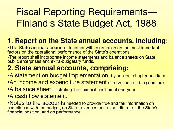 Fiscal Reporting Requirements—Finland's State Budget Act, 1988