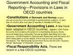 government accounting and fiscal reporting provisions in laws in oecd countries