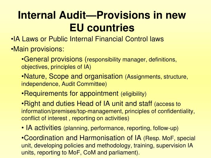 Internal Audit—Provisions in new EU countries