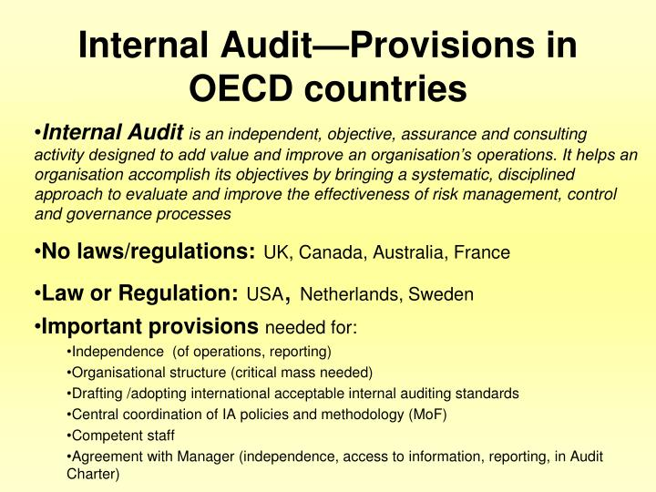 Internal Audit—Provisions in OECD countries